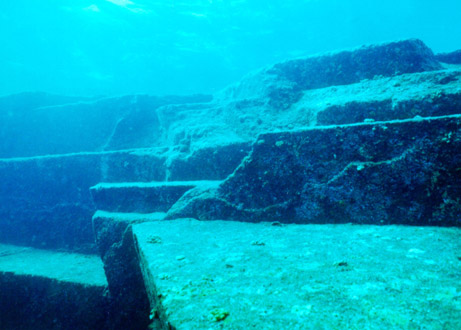 Close-up view of underwater pyramid structures near Okinawa