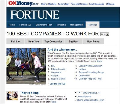 Fortune's best companies to work for
