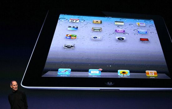 Steve Jobs unveils the new Apple iPad 2 at Apple headquarters on March 2, 2011