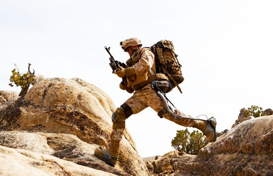A soldier tests Lockheed Martin's HULC bionic exoskeleton suit