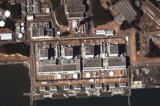 A stelite image of the damaged Fukushima Dai-Ichi nuclear facility