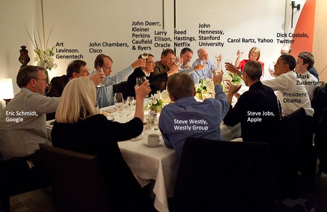 John Doerr says, Before we toast President Obama, Does anybody here need any venture capital.  I brought my checkbook