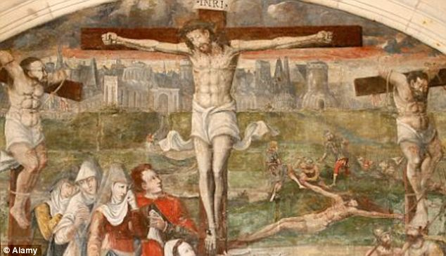 A 16th century painting depicting Jesus' cruxifiction