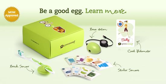 The Green Goose sensor kit includes an egg-shaped wireless sensors, sensor stickers, a card pedometer and an egg-shaped base station