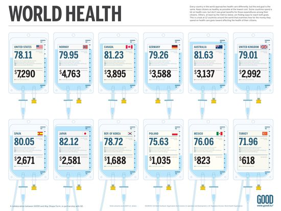 World Health Life Expectancy and Costs Per Capita