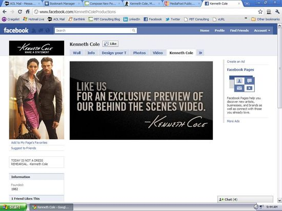 Kenneth Cole's Facebook Page