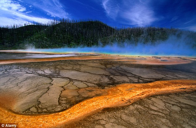 Yellowstone National Park's Midway Basin after the aftermath of a super volcano eruption