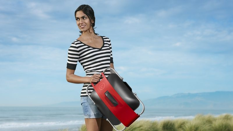 Fuego's Element portable gas-powered grill can can be transported anywhere. Perfect for tailgate parties, park or beach