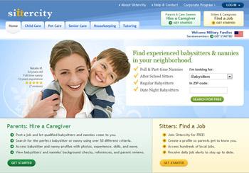 Sittercity.com homepage