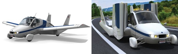 The Terrafugia Transition flying car can also fold its wings so that it can be driven like a regular car