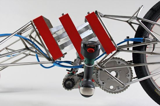 Excentricity Death Mobile Bike uses  two 18-volt Bosch screwdrivers 2