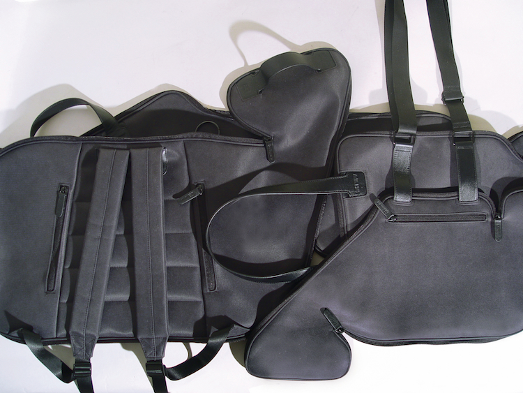 Makio Hasuike's innovative Buccia soft leather, zig-zagging zipper briefcase in unzipped and folded out