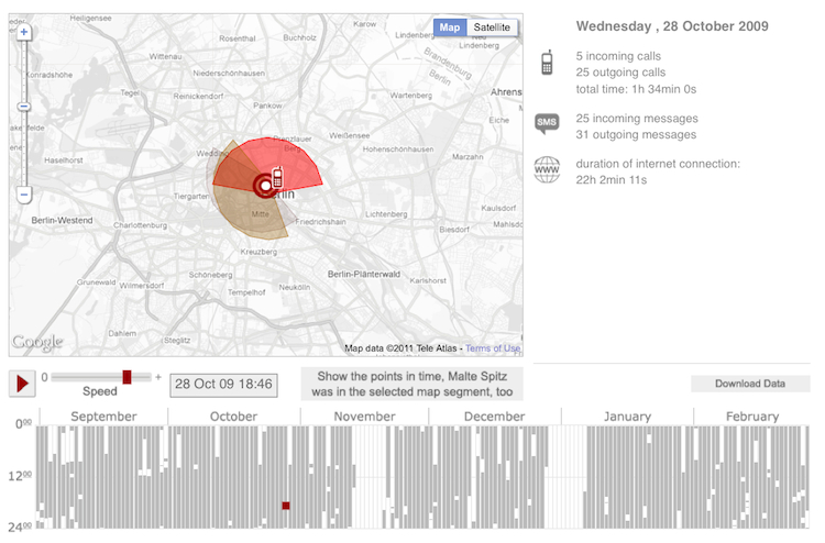 Cell phone tracking detail for Malte Spitz