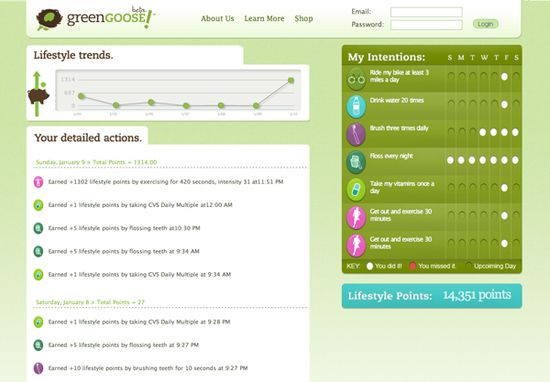 Green Goose allows you to turn daily activities and chores into games that earn lifestyle points