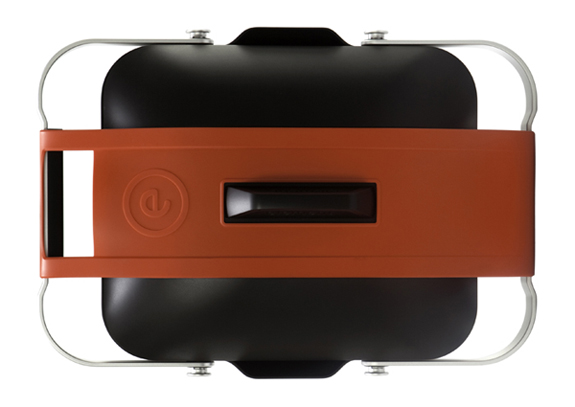 Fuego's Element portable gas-powered grill, top view with leg support folded into horizontal position