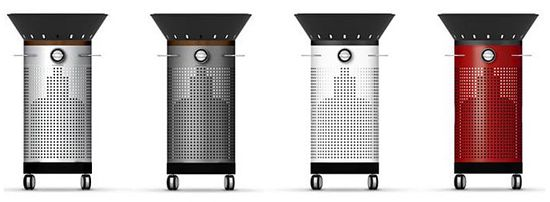 Fuego Element upright grill has four roller wheels