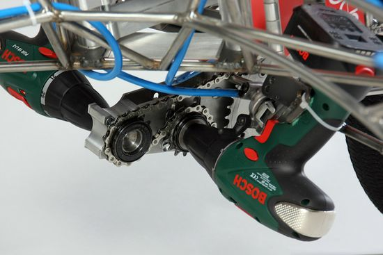 Excentricity Death Mobile Bike uses  two 18-volt Bosch screwdrivers