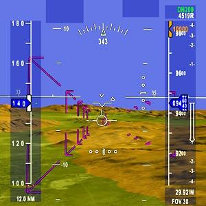HUD SVS display shows realistic terrain detail