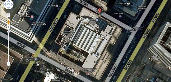 Facebook's new offices at 335 Madison Avenue, New York City, satellite view