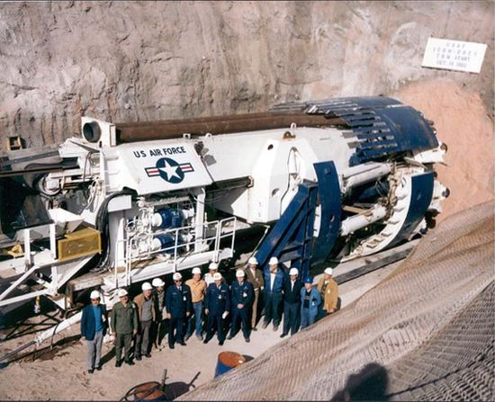 Subterrene - A giant sub-terranean earth boring machine developed by the U.S. Air Force is being used to bore a hole to reach the buried object