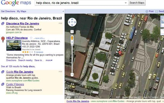 The world famous Help Discoteca in Rio de Janeiro viewed using Google Maps with Street View