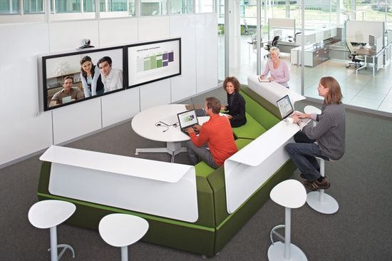 Steelcase media-scape lunge with videoconference setup