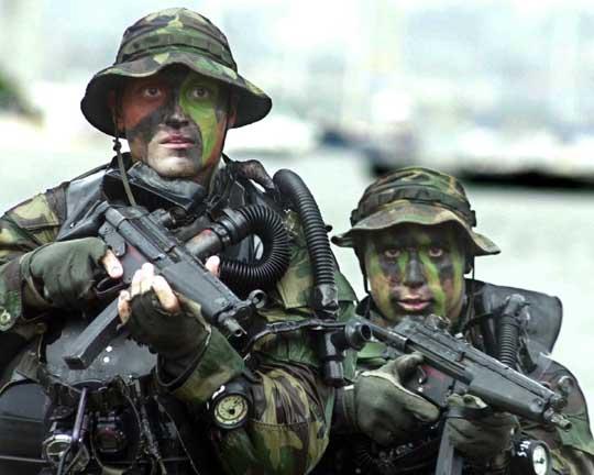 The U.S. Navy SEALS counter-terrorist fighting men in action