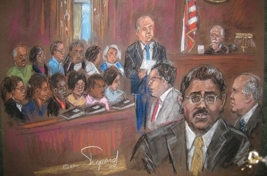 Reenactment of the insider trading trail of Raj Rajaratnam as the jury foreman reads the GUILTY verdict