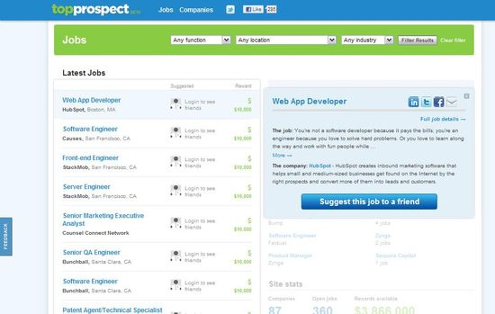 TopProspects Jobs Page, list latest job openings, provides searching for jobs by function, location and industry