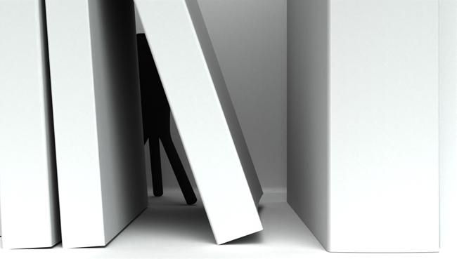 Peepster hidden in a bookcase