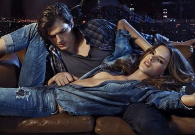 Ashton Kutcher gets back to his male modeling roots in an ad campaign for Brazilian jeans label Colcci with top female model Alessandra Ambrosio. Not bad Kutch