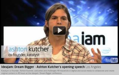 Ashton Kutcher gives speech at IdeaJam a symposium of 48 young entrepreneurs in digital and social media to collaborate and create original content in 48 hours