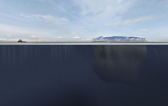 A transparent view of a tugboat dragging a polar iceberg through the ocean