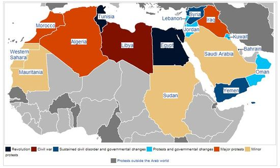 Map of Arab World Nations Affected By Arab Spring 2011