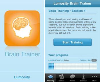 Lumosity Brain Trainer app for the iPhone