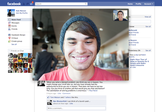 Facebook partnered with VoIP giant Skype to embed a Facebook-customized Video-Chat app for its 750 million users