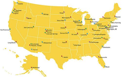 Top 50 US Biking Cities by Montague Bikes - April 7, 2010 - Google Maps