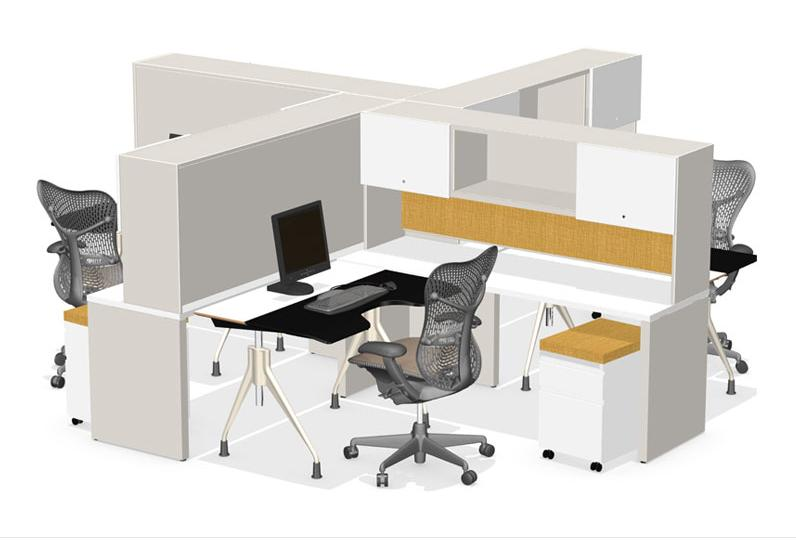 Envelop Desk in a multi-workstation configuration