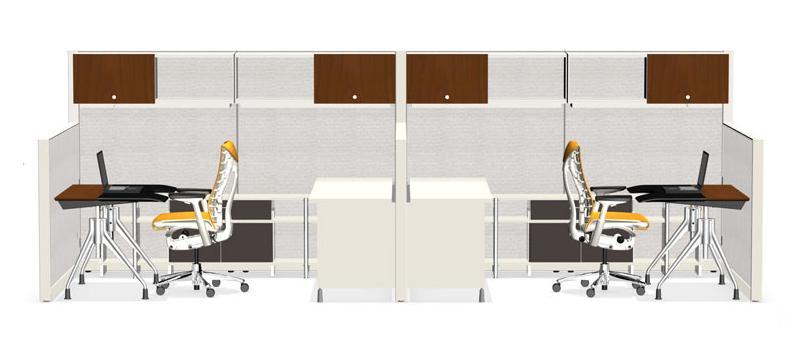 Envelop Desk in a side-by-side multi-workstation configuration