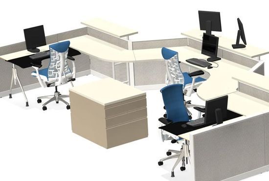 Envelop Desk in a shared workstation cubicle configuration