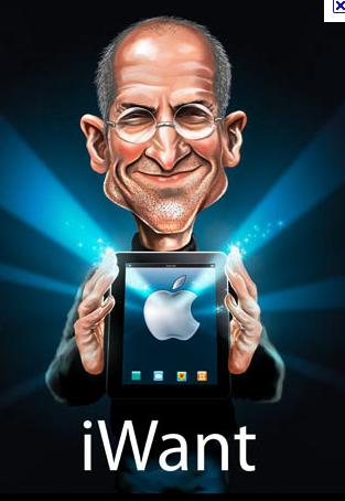 Steve Jobs holding the iWant tablet