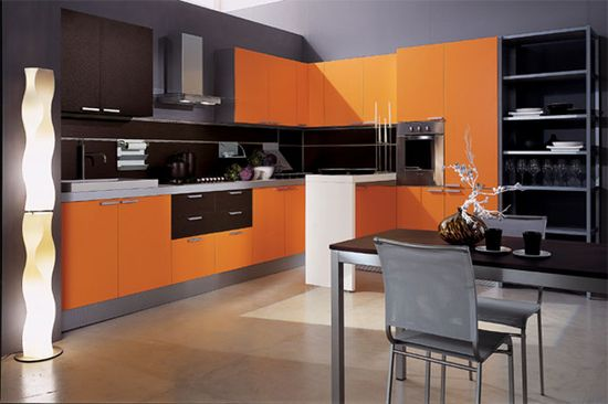 Modular Orange Kitchen 4
