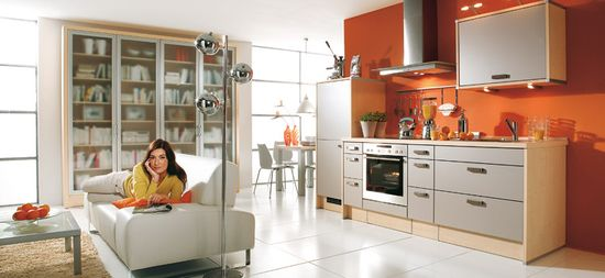 Modular Orange Kitchen 11