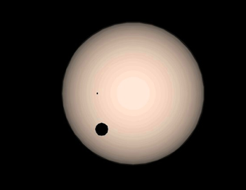 Our Sun, Jupiter (the large black dot) and Earth (the small dot)
