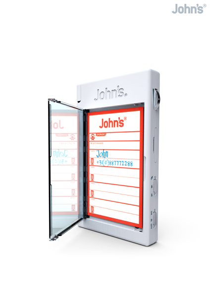 John's Phone comes with a built-in address book and writing pad in the rear of the phone