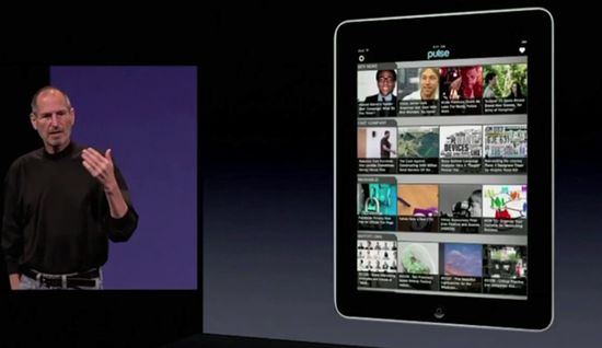 Steve Jobs mentions the Pulse app while presenting the iPad