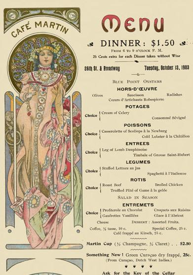 Menu for Cafe Martin, New York, NY, 1903