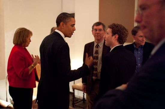 Here's Mark Zuckerberg at a private dinner party sponsored by CIA frontman John Doerr.
