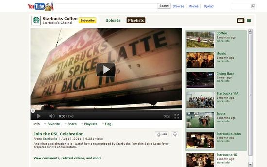 Starbucks YouTube page