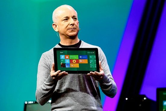 Microsoft's Steven Sinofsky introduced a new tablet running a test version of Windows 8 Tuesday